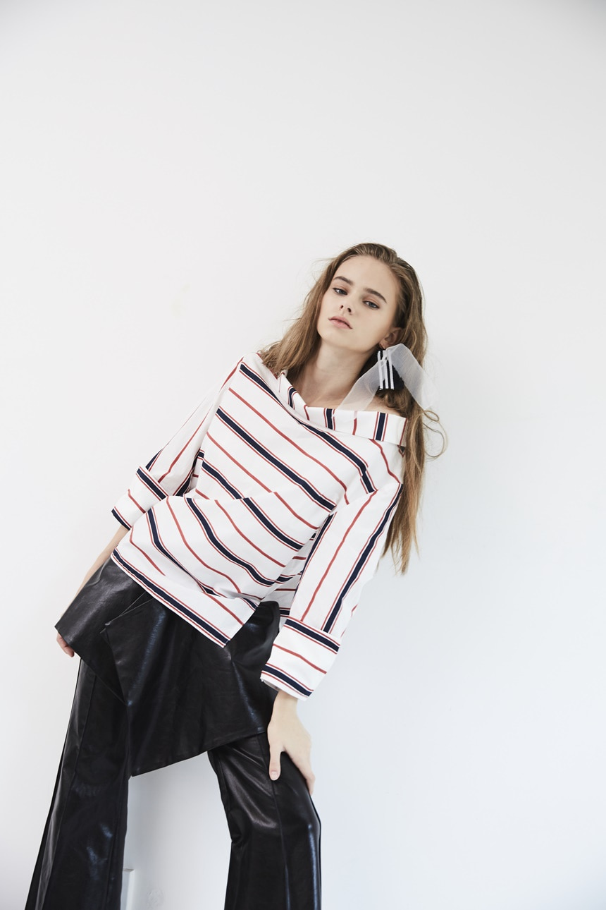 EKHON PRE-FALL WIDE NECK STRIPE SHIRT