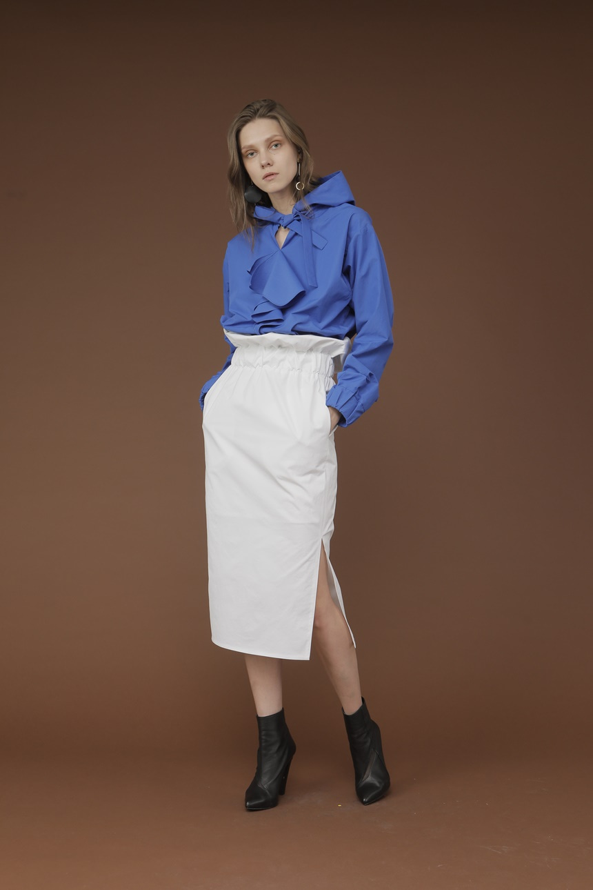 HIGH WAIST BANDING SKIRT_WHITE